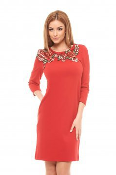 StarShinerS Rose Embroidery Red Dress
