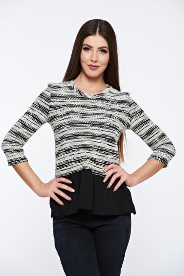 StarShinerS black women`s blouse knitted frilled from veil fabric
