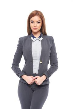 Fofy grey jacket office tented nonelastic fabric with inside lining