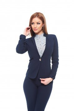 Fofy darkblue jacket office tented nonelastic fabric with inside lining