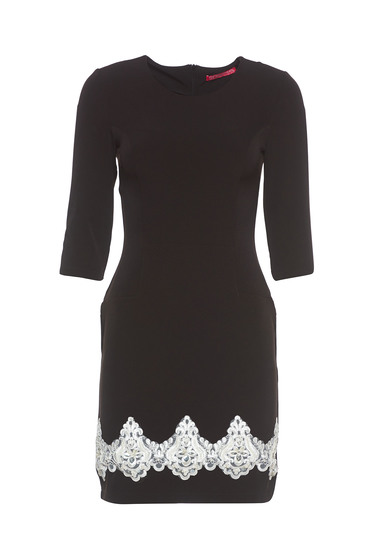 StarShinerS black elegant pencil dress with embroidery details