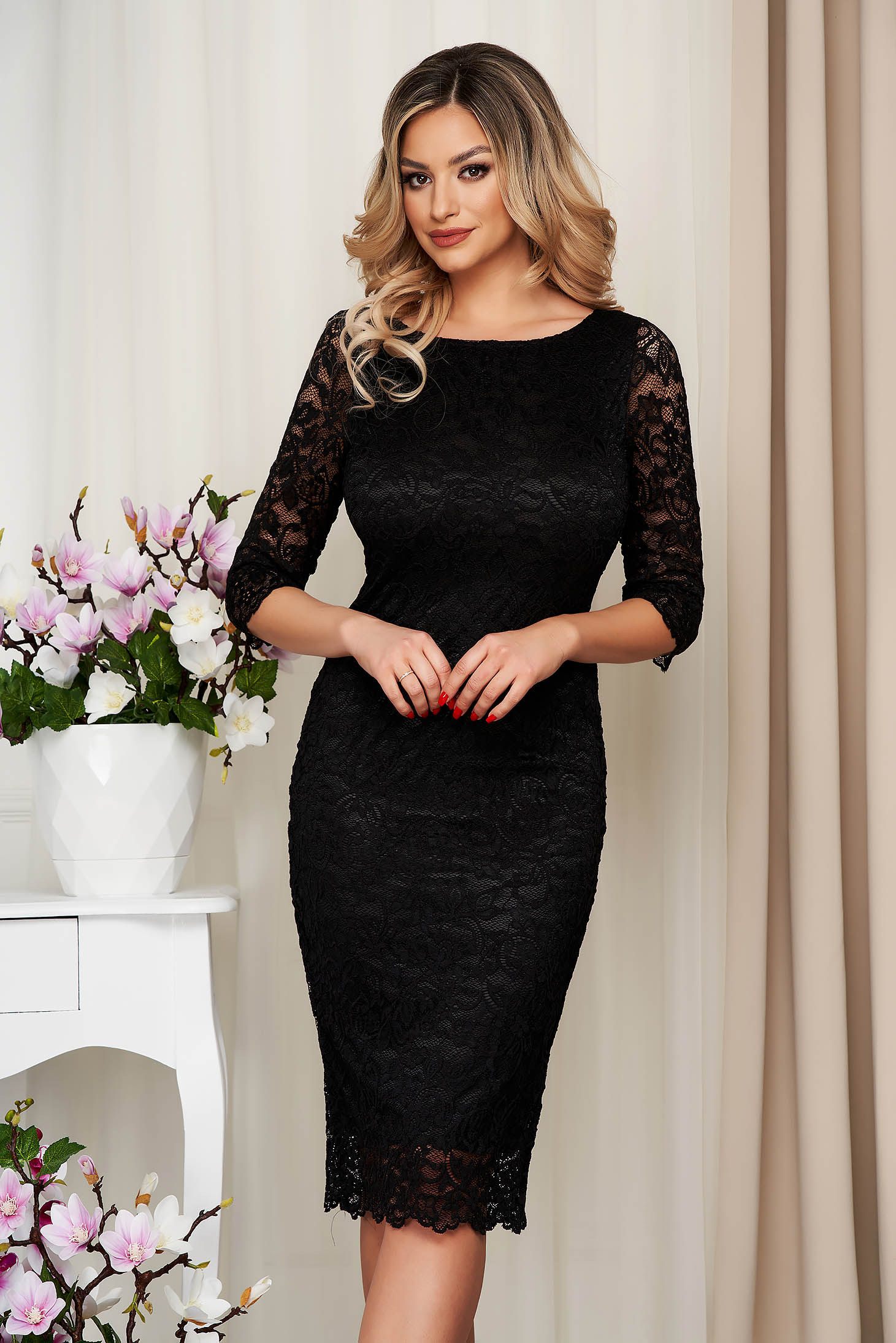 StarShinerS black dress from laced fabric pencil midi occasional