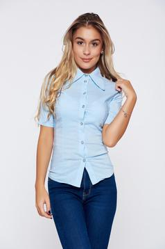 Artista lightblue office women`s shirt with bow accessory