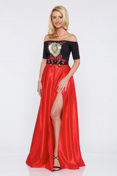 Occasional Artista red embroidered dress with satin fabric texture