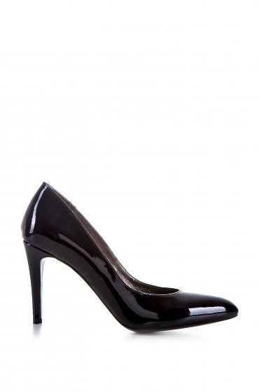 Stiletto natural leather slightly pointed toe tip black shoes