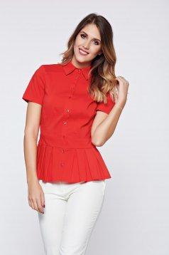 PrettyGirl red women`s shirt office pleats of material
