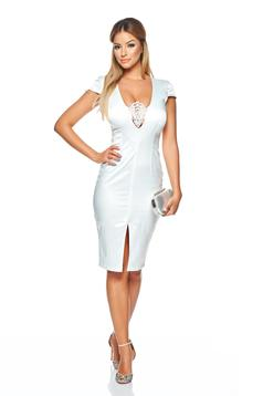 StarShinerS white elegant pencil dress with a cleavage