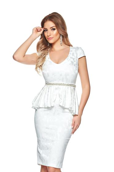StarShinerS white dress occasional from elastic fabric frilled accessorized with tied waistband