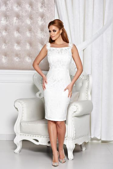 StarShinerS white dress elegant pencil from jacquard sleeveless