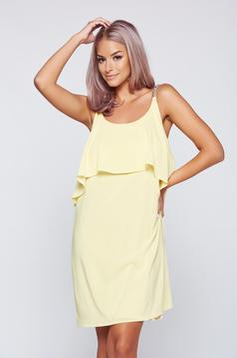 StarShinerS yellow flared voile fabric dress
