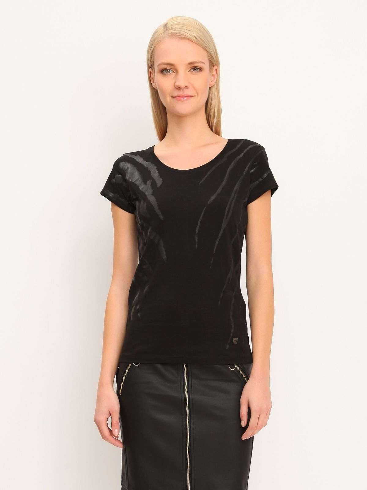 ae9598956718c Black T Shirt Dress With Leather Sleeves - BCD Tofu House