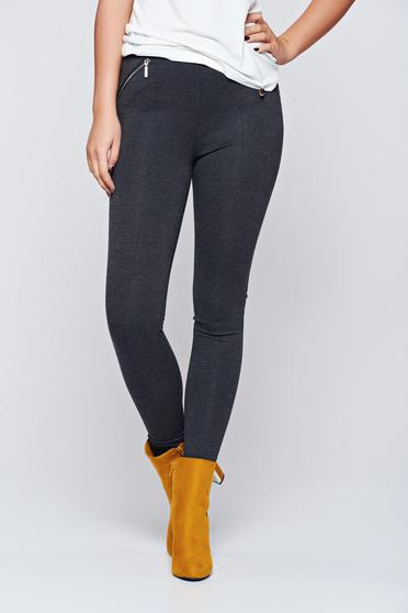 Top Secret casual grey tights with zipper and details pockets