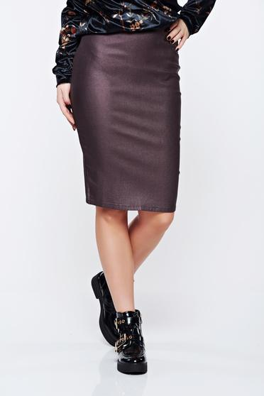 Skirt Top Secret brown office with metallic aspect and tented cut