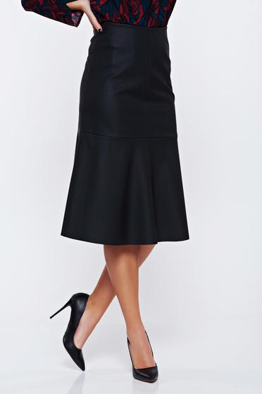 Top Secret black casual cloche skirt from ecological leather