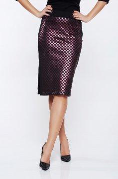Top Secret midi clubbing black straight skirt with metallic aspect