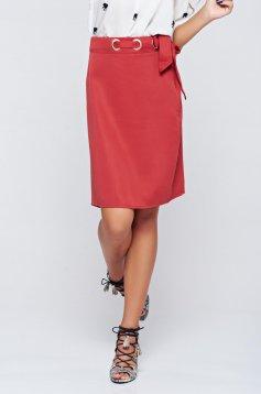 Top Secret red straight high waisted skirt