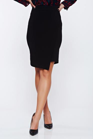 Top Secret casual wrap around black skirt with tented cut