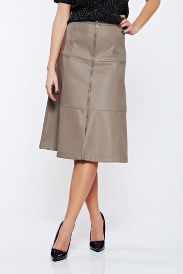 Top Secret peach casual cloche skirt from ecological leather