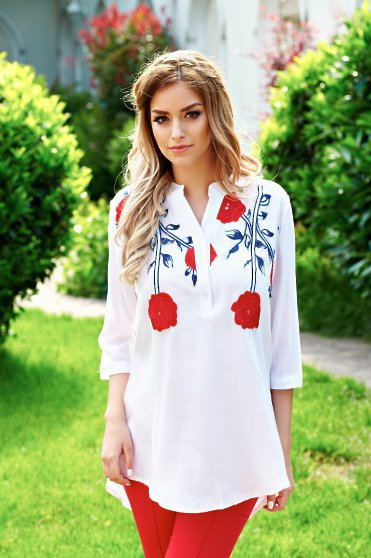 Picturesque White Traditional Blouse