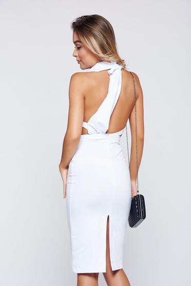 Ocassion white dress cotton with a cleavage bareback