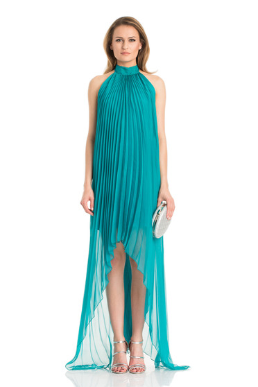Daniella Cristea asymmetrical turquoise sleeveless bareback dress
