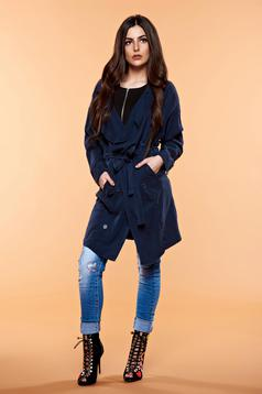 Casual long sleeve Top Secret darkblue trenchcoat