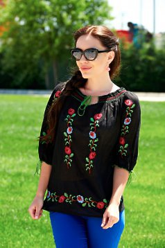 Beauty Roses Black Traditional Blouse