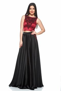 LaDonna burgundy set occasional with satin fabric texture with pockets