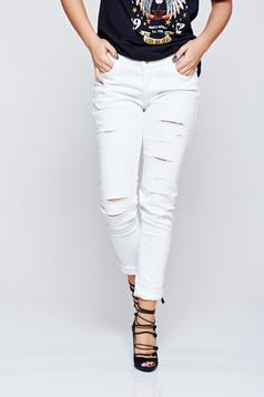 Top Secret casual white cotton jeans with ruptures