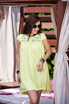 StarShinerS Summer Spice Yellow Embroidered Dress