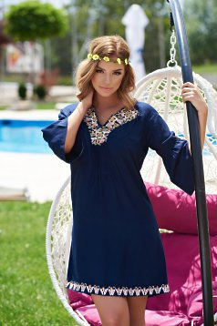 StarShinerS Cute Embroidery DarkBlue Traditional Blouse
