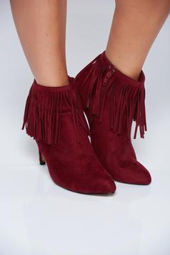 Top Secret burgundy high heels ankle boots with fringes