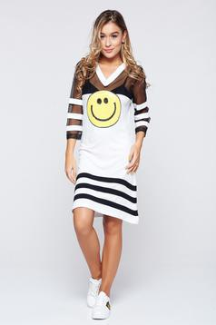 Ocassion white dress sporty flared 3/4 sleeve