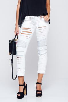 Ocassion white jeans denim ruptures with pockets