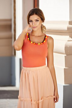 PrettyGirl casual tented coral top shirt with tassels