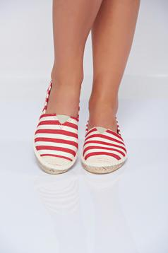 Top Secret red casual espadrilles with stripes