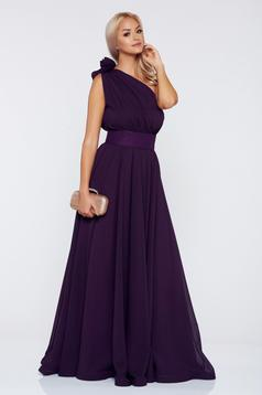 Occasional Ana Radu purple voile fabric one shoulder dress