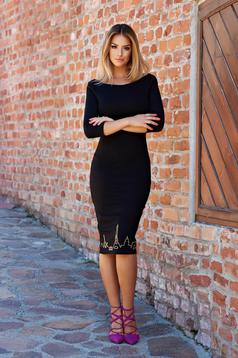 StarShinerS Bonjour Belle Hot Move Black Embroidered Dress