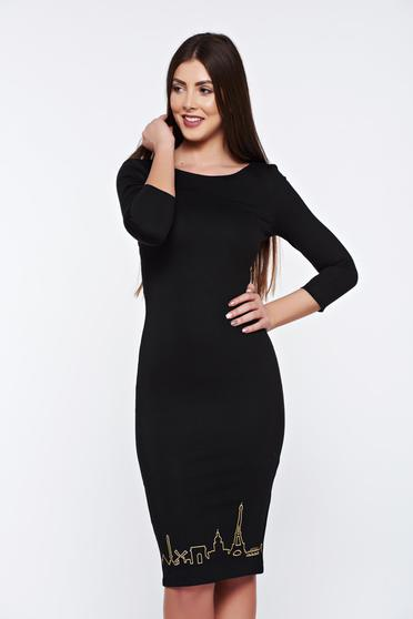 StarShinerS daily embroidered pencil black dress from elastic fabric