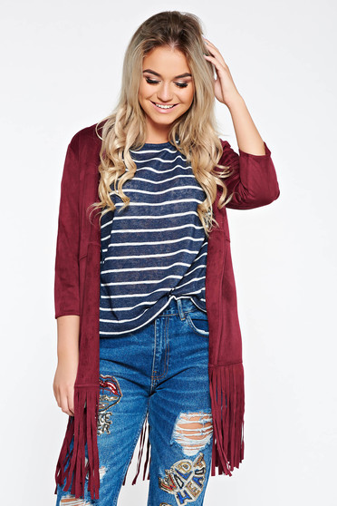 Top Secret red cardigan from velour with easy cut with fringes at the bottom