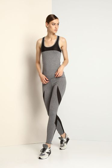 Top Secret sporty with tented cut from elastic fabric grey top shirt