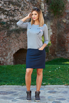 StarShinerS Be Young Stiletto Grey Embroidered Dress