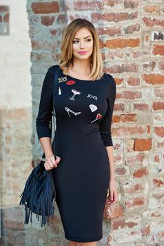 StarShinerS embroidered black pencil dress with 3/4 sleeves