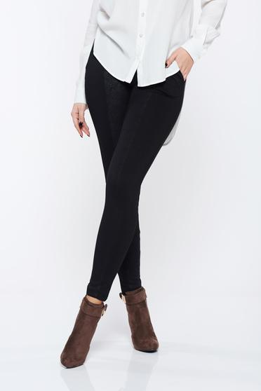 Tights Top Secret black with medium waist from ecological leather