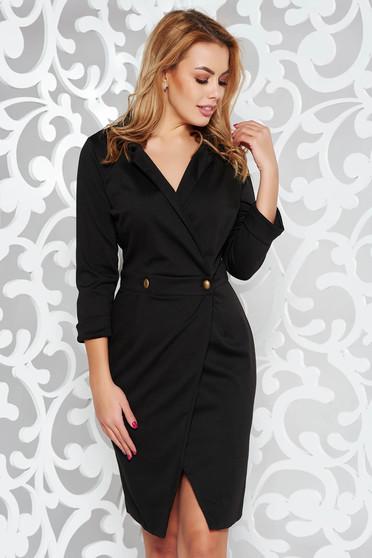 PrettyGirl wrap around elegant daily black dress with a cleavage