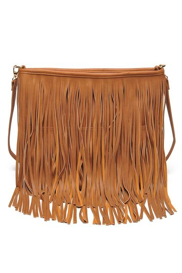 Top Secret brown casual bag with fringes