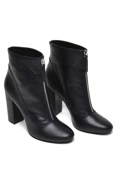 Top Secret black ecological leather ankle boots with high heels