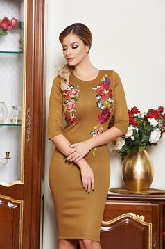 LaDonna Colourful Roses Brown Dress