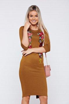 LaDonna brown elegant dress embroidery details
