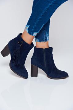 Top Secret darkblue ankle boots with square heel and tassels